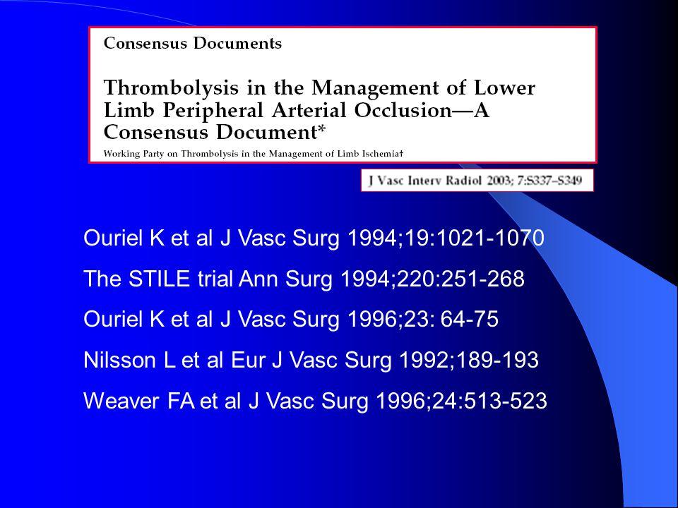 Ouriel K et al J Vasc Surg 1994;19:1021-1070 The STΙLE trial Ann Surg 1994;220:251-268 Ouriel K et al J Vasc Surg 1996;23: 64-75 Nilsson L et al Eur J