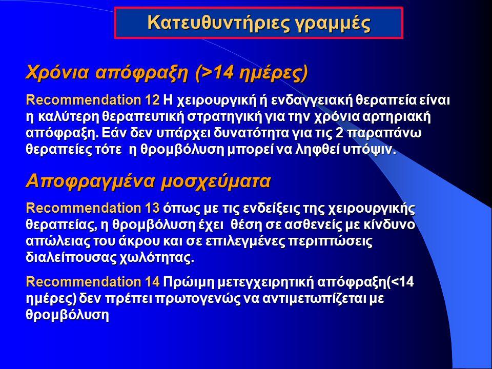 Χρόνια απόφραξη (>14 ημέρες) Recommendation 12 Η χειρουργική ή ενδαγγειακή θεραπεία είναι η καλύτερη θεραπευτική στρατηγική για την χρόνια αρτηριακή α