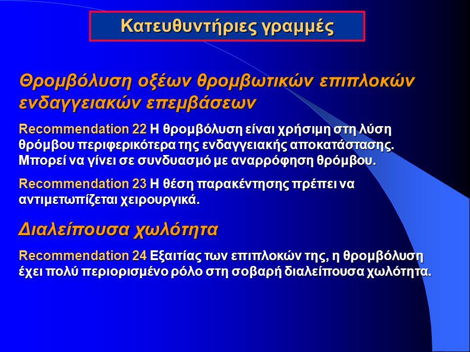 Θρομβόλυση οξέων θρομβωτικών επιπλοκών ενδαγγειακών επεμβάσεων Recommendation 22 Η θρομβόλυση είναι χρήσιμη στη λύση θρόμβου περιφερικότερα της ενδαγγ