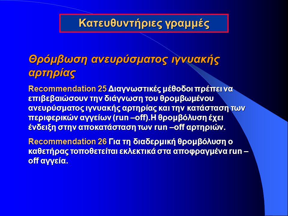 Θρόμβωση ανευρύσματος ιγνυακής αρτηρίας Recommendation 25 Διαγνωστικές μέθοδοι πρέπει να επιβεβαιώσουν την διάγνωση του θρομβωμένου ανευρύσματος ιγνυα