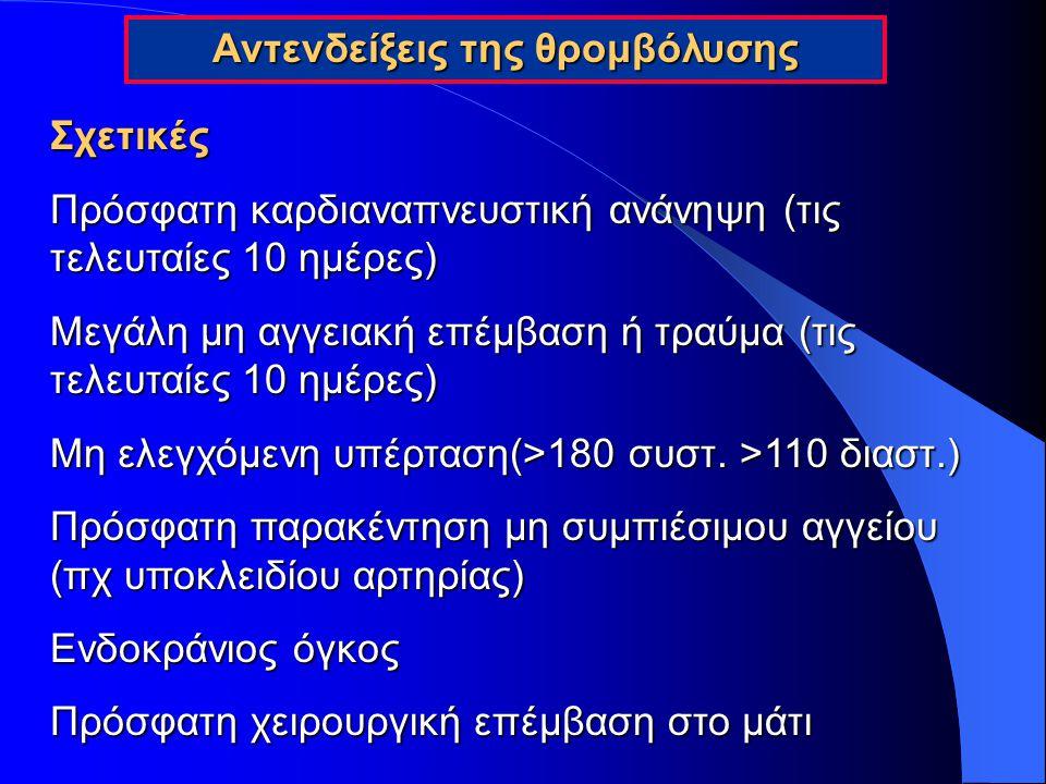 Ελάσσονες Ηπατική ανεπάρκειαΗπατική ανεπάρκεια Βακτηριακή ενδοκαρδίτιδαΒακτηριακή ενδοκαρδίτιδα ΕγκυμοσύνηΕγκυμοσύνη Διαβητική αιμορραγική αμφιβληστροειδοπάθειαΔιαβητική αιμορραγική αμφιβληστροειδοπάθεια Αντενδείξεις της θρομβόλυσης