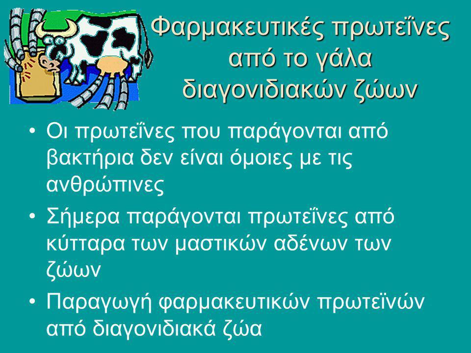 Φαρμακευτικές πρωτεΐνες από το γάλα διαγονιδιακών ζώων Οι πρωτεΐνες που παράγονται από βακτήρια δεν είναι όμοιες με τις ανθρώπινες Σήμερα παράγονται π