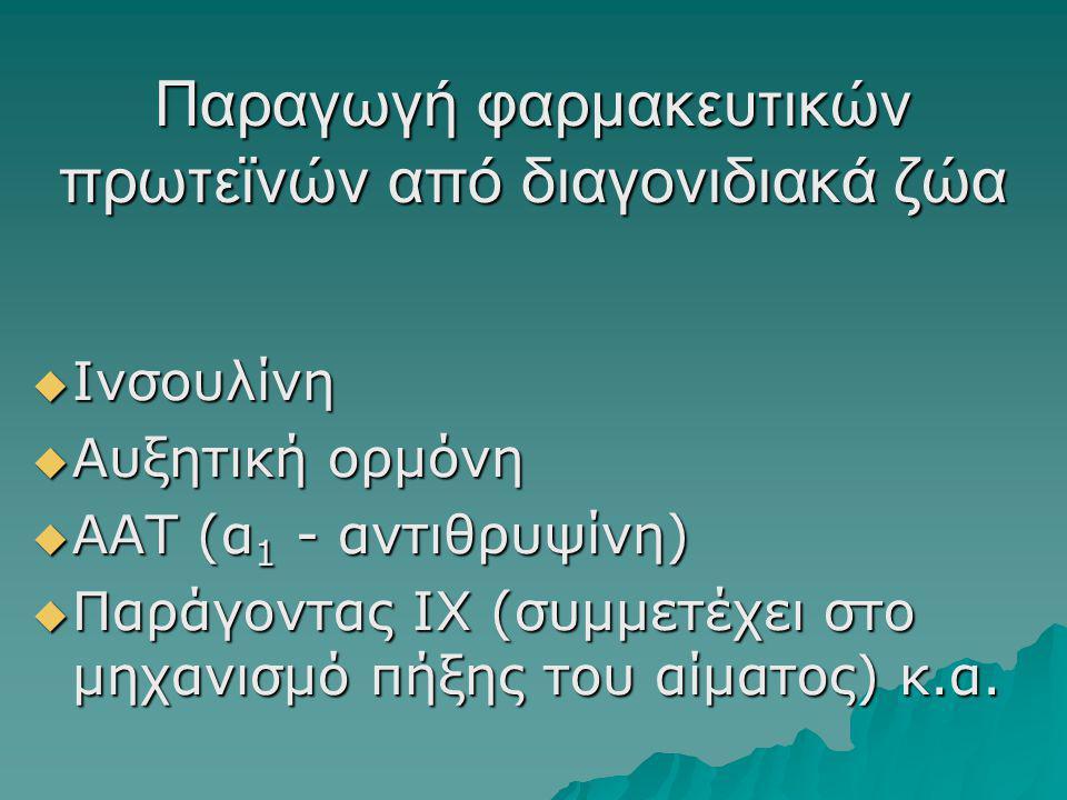  Ινσουλίνη  Αυξητική ορμόνη  ΑΑΤ (α 1 - αντιθρυψίνη)  Παράγοντας ΙΧ (συμμετέχει στο μηχανισμό πήξης του αίματος) κ.α.