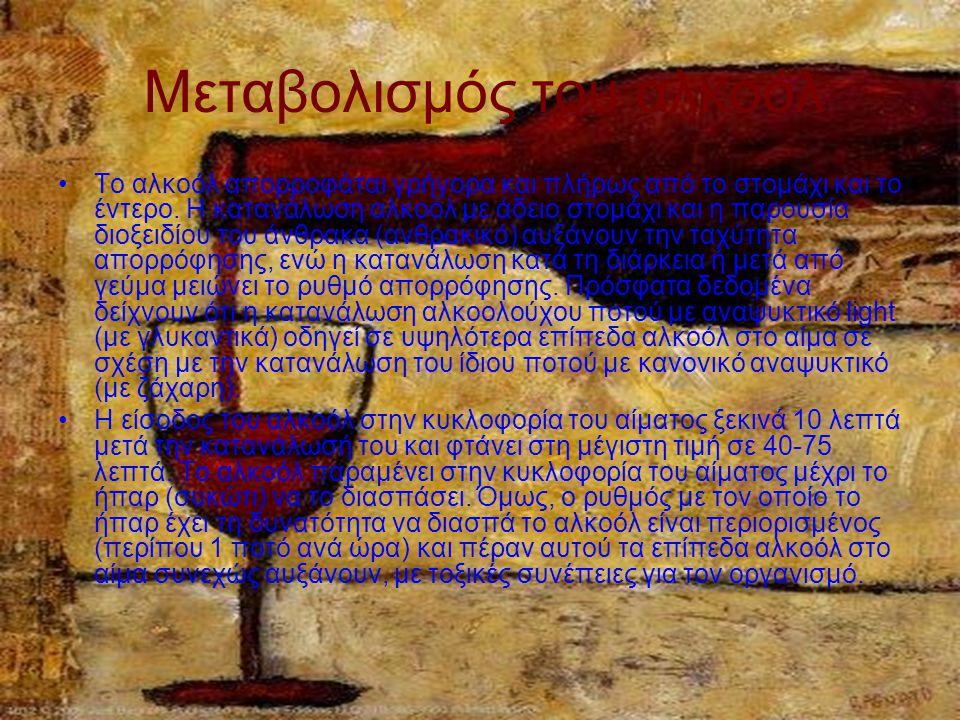 Μεταβολισμός του αλκοόλ Το αλκοόλ απορροφάται γρήγορα και πλήρως από το στομάχι και το έντερο.