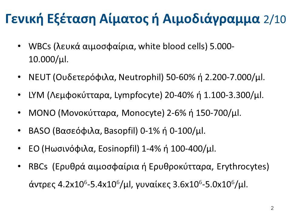 Γενική Εξέταση Αίματος ή Αιμοδιάγραμμα 2/10 WBCs (λευκά αιμοσφαίρια, white blood cells) 5.000- 10.000/μl. NEUΤ (Ουδετερόφιλα, Neutrophil) 50-60% ή 2.2