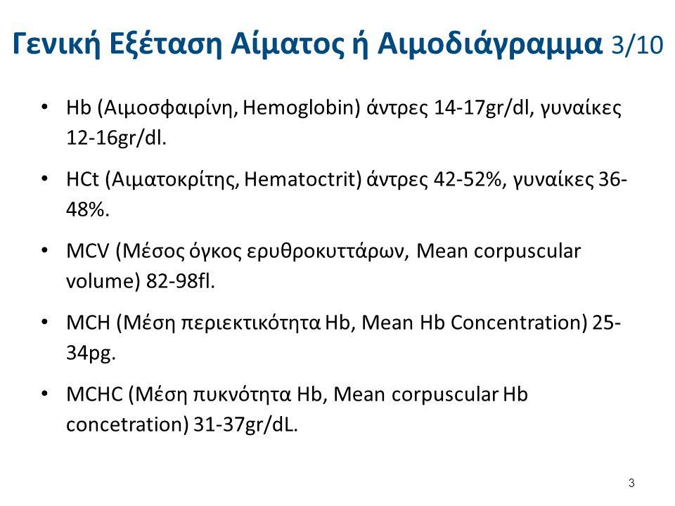 Γενική Εξέταση Αίματος ή Αιμοδιάγραμμα 3/10 Ηb (Αιμοσφαιρίνη, Hemoglobin) άντρες 14-17gr/dl, γυναίκες 12-16gr/dl. HCt (Αιματοκρίτης, Hematoctrit) άντρ