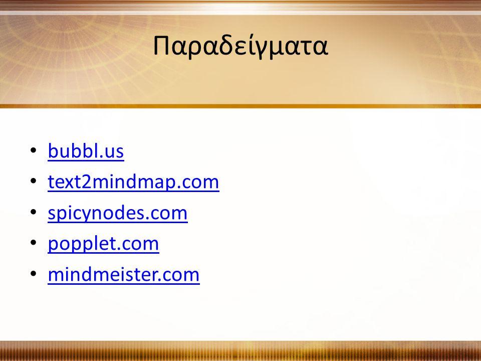 Παραδείγματα bubbl.us text2mindmap.com spicynodes.com popplet.com mindmeister.com