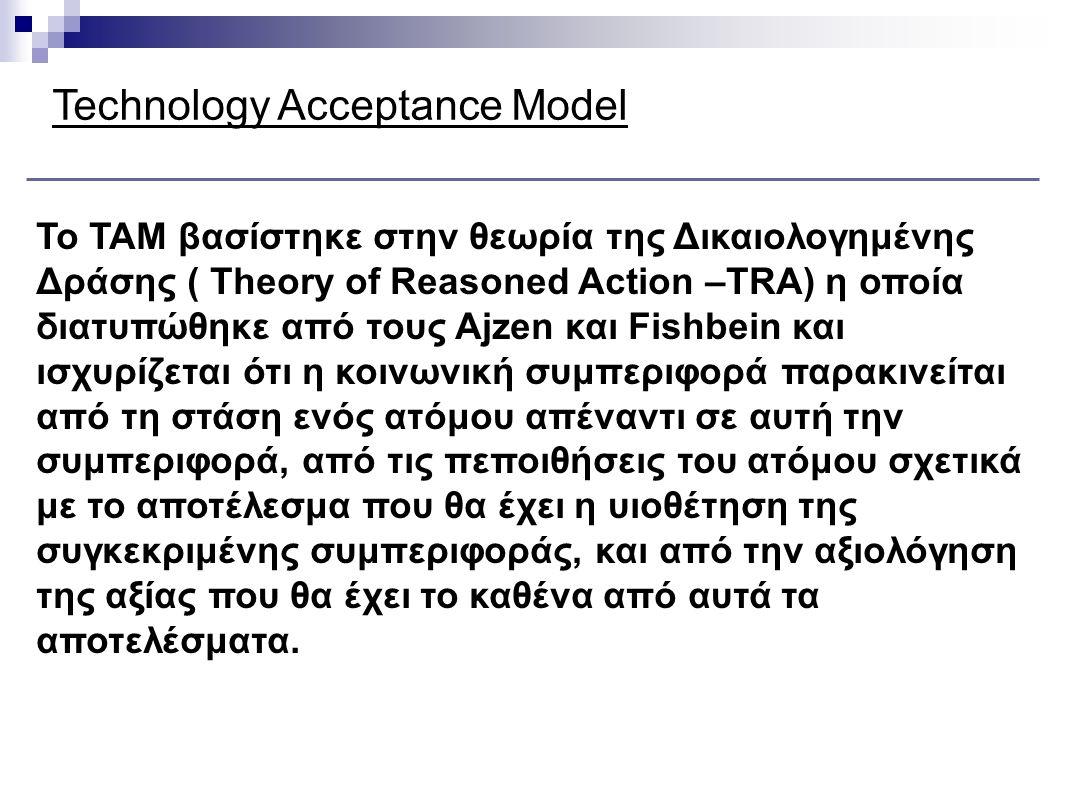 Technology Acceptance Model Το μοντέλο προτείνει δύο μέτρα αποδοχής της τεχνολογίας: Αντιλαμβανόμενη Ευκολία Χρήσης - perceived ease of use - (ο βαθμός στον οποίο ένα άτομο πιστεύει ότι χρησιμοποιώντας ένα συγκεκριμένο σύστημα θα αυξήσει την απόδοση του στην εργασία του) Αντιλαμβανόμενη Χρησιμότητα - perceived usefulness - (ο βαθμός, στον οποίο ένα άτομο πιστεύει ότι η χρησιμοποίηση ενός συγκεκριμένου συστήματος δεν θα απαιτεί προσπάθεια)