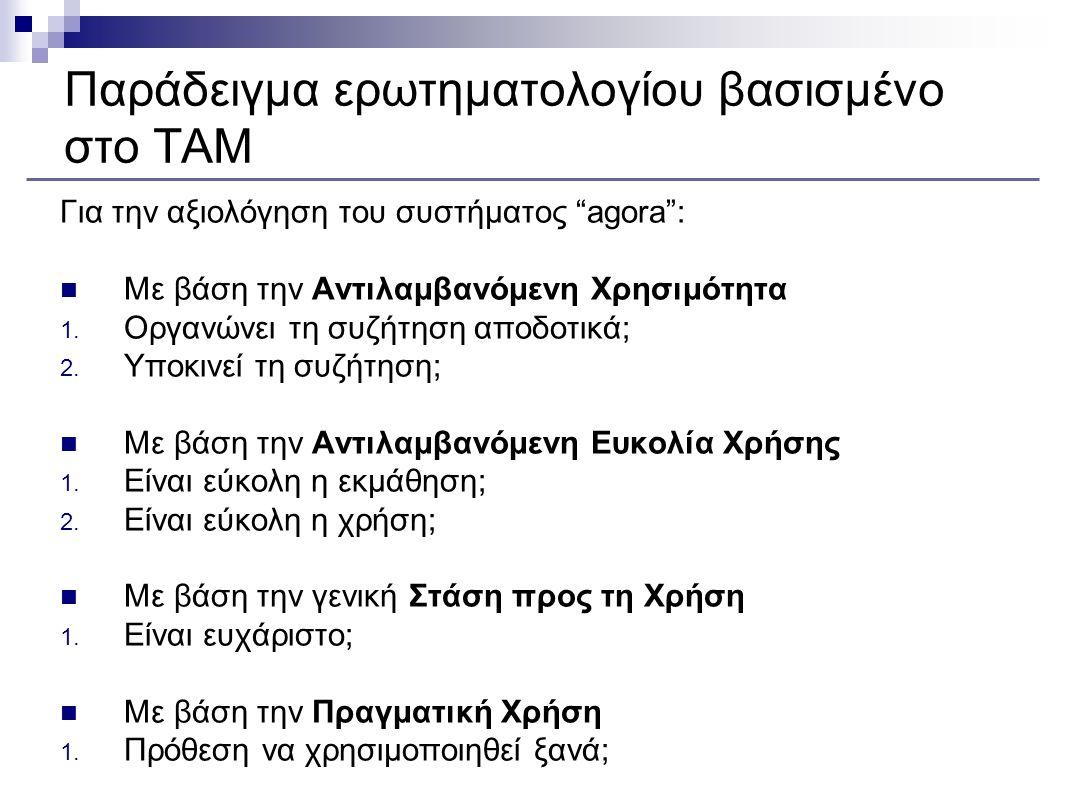 Παράδειγμα ερωτηματολογίου βασισμένο στο TAM Για την αξιολόγηση του συστήματος agora Με βάση την Αντιλαμβανόμενη Ευκολία Χρήσης 1.