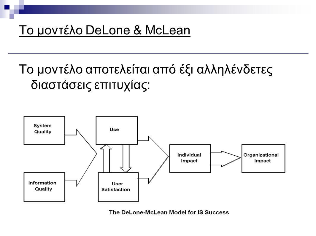Το μοντέλο DeLone & McLean Στο μοντέλο αυτό, στην ποιότητα του συστήματος (system quality) λαμβάνονται υπόψη στοιχεία που έχουν σχέση με την παραγωγή, όπως χρόνοι απόκρισης, αξιοποίηση των πόρων, αξιοποίηση των επενδύσεων.