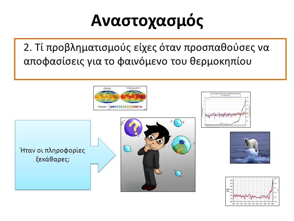 Αναστοχασμός 2. Τί προβληματισμούς είχες όταν προσπαθούσες να αποφασίσεις για το φαινόμενο του θερμοκηπίου Ήταν οι πληροφορίες ξεκάθαρες;