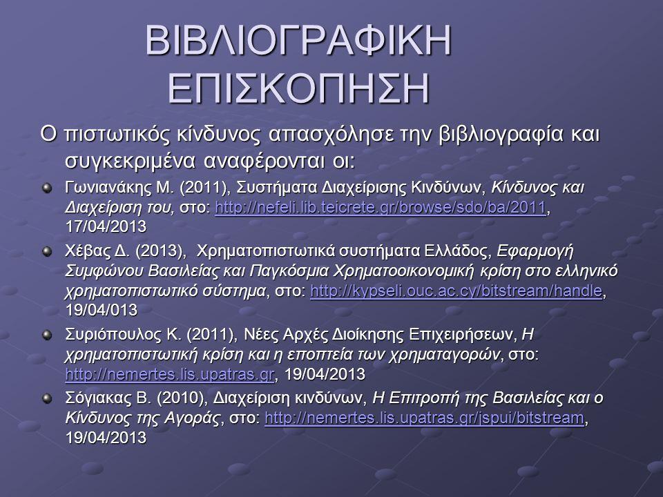 ΒΙΒΛΙΟΓΡΑΦΙΚΗ ΕΠΙΣΚΟΠΗΣΗ Ο πιστωτικός κίνδυνος απασχόλησε την βιβλιογραφία και συγκεκριμένα αναφέρονται οι: Γωνιανάκης Μ. (2011), Συστήματα Διαχείριση