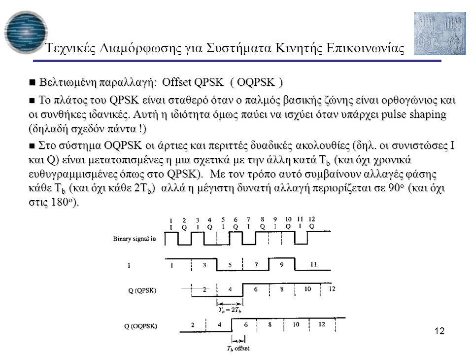 12 Τεχνικές Διαμόρφωσης για Συστήματα Κινητής Επικοινωνίας Βελτιωμένη παραλλαγή: Offset QPSK ( OQPSK ) Βελτιωμένη παραλλαγή: Offset QPSK ( OQPSK ) Το