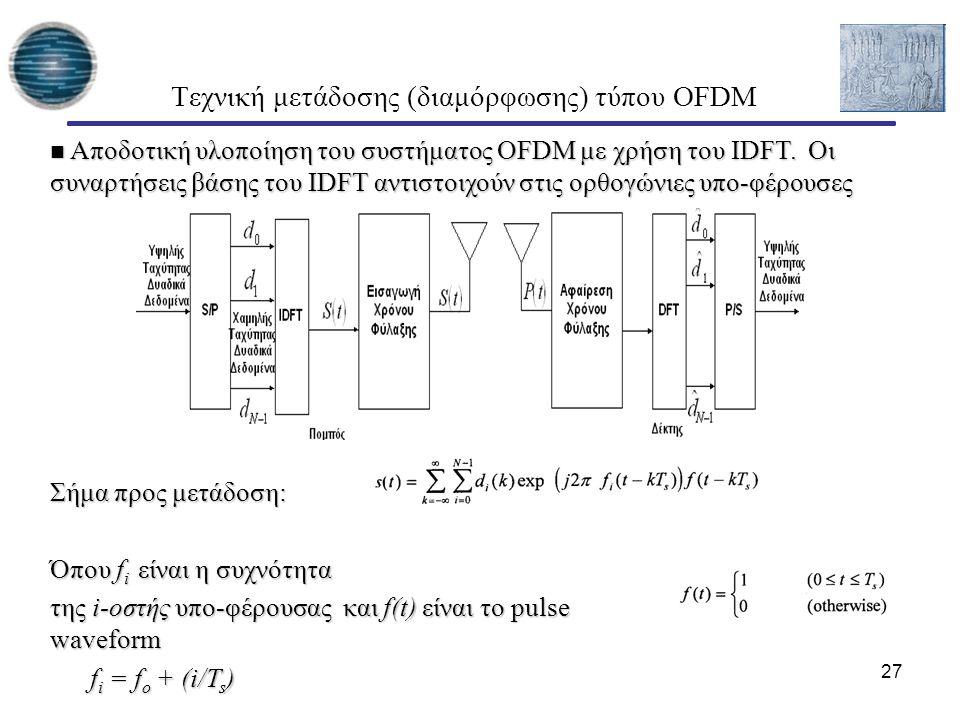 27 Τεχνική μετάδοσης (διαμόρφωσης) τύπου OFDM Αποδοτική υλοποίηση του συστήματος OFDM με χρήση του ΙDFT. Οι συναρτήσεις βάσης του ΙDFT αντιστοιχούν στ