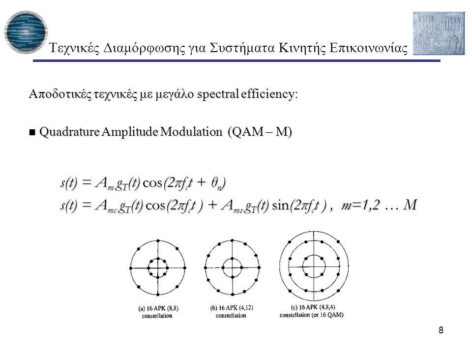 8 Τεχνικές Διαμόρφωσης για Συστήματα Κινητής Επικοινωνίας Αποδοτικές τεχνικές με μεγάλο spectral efficiency: Quadrature Amplitude Modulation (QAM – M)