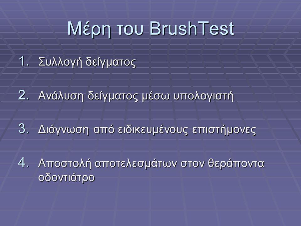 Μέρη του BrushTest 1. Συλλογή δείγματος 2. Ανάλυση δείγματος μέσω υπολογιστή 3.