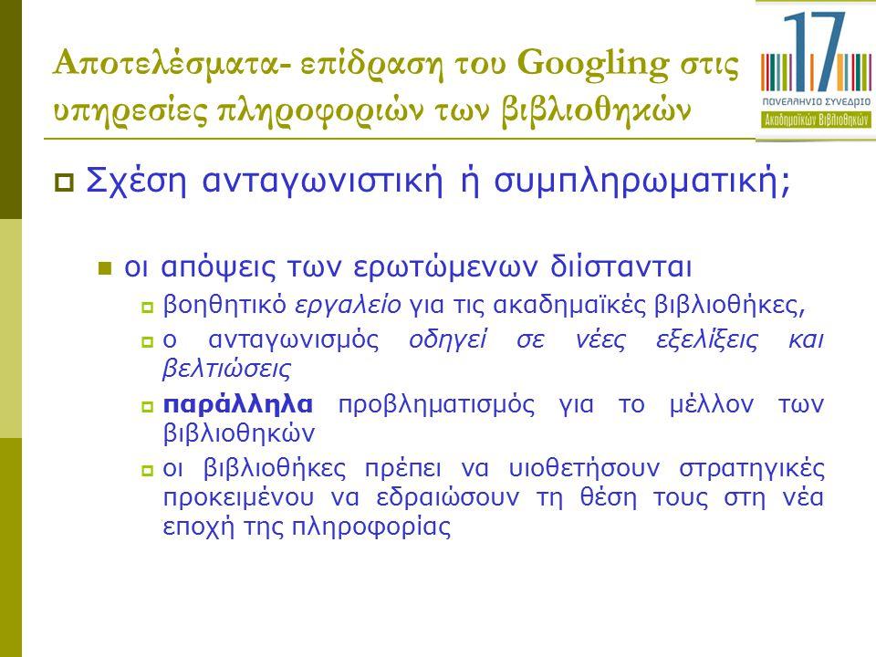 Αποτελέσματα- επίδραση του Googling στις υπηρεσίες πληροφοριών των βιβλιοθηκών  Σχέση ανταγωνιστική ή συμπληρωματική; οι απόψεις των ερωτώμενων διίστ