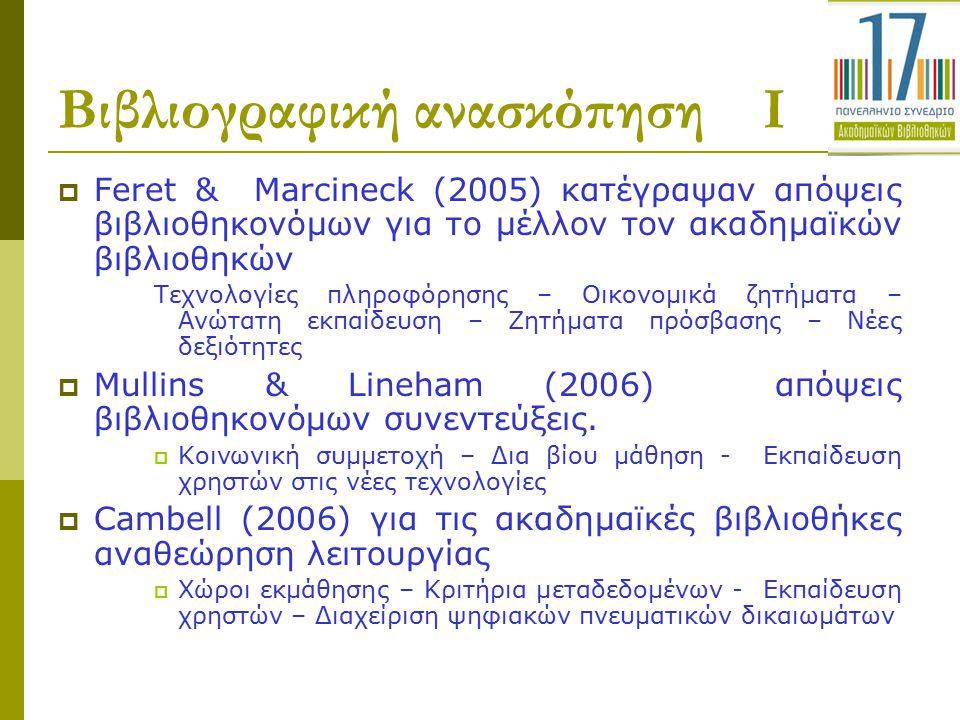 Βιβλιογραφική ανασκόπηση Ι  Feret & Marcineck (2005) κατέγραψαν απόψεις βιβλιοθηκονόμων για το μέλλον τον ακαδημαϊκών βιβλιοθηκών Τεχνολογίες πληροφό