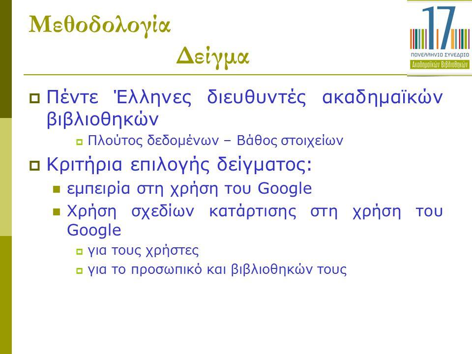Μεθοδολογία Δείγμα  Πέντε Έλληνες διευθυντές ακαδημαϊκών βιβλιοθηκών  Πλούτος δεδομένων – Βάθος στοιχείων  Κριτήρια επιλογής δείγματος: εμπειρία στ