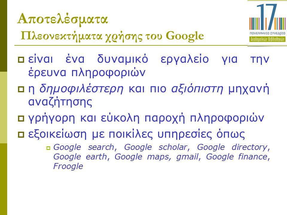 Αποτελέσματα Πλεονεκτήματα χρήσης του Google  είναι ένα δυναμικό εργαλείο για την έρευνα πληροφοριών  η δημοφιλέστερη και πιο αξιόπιστη μηχανή αναζή