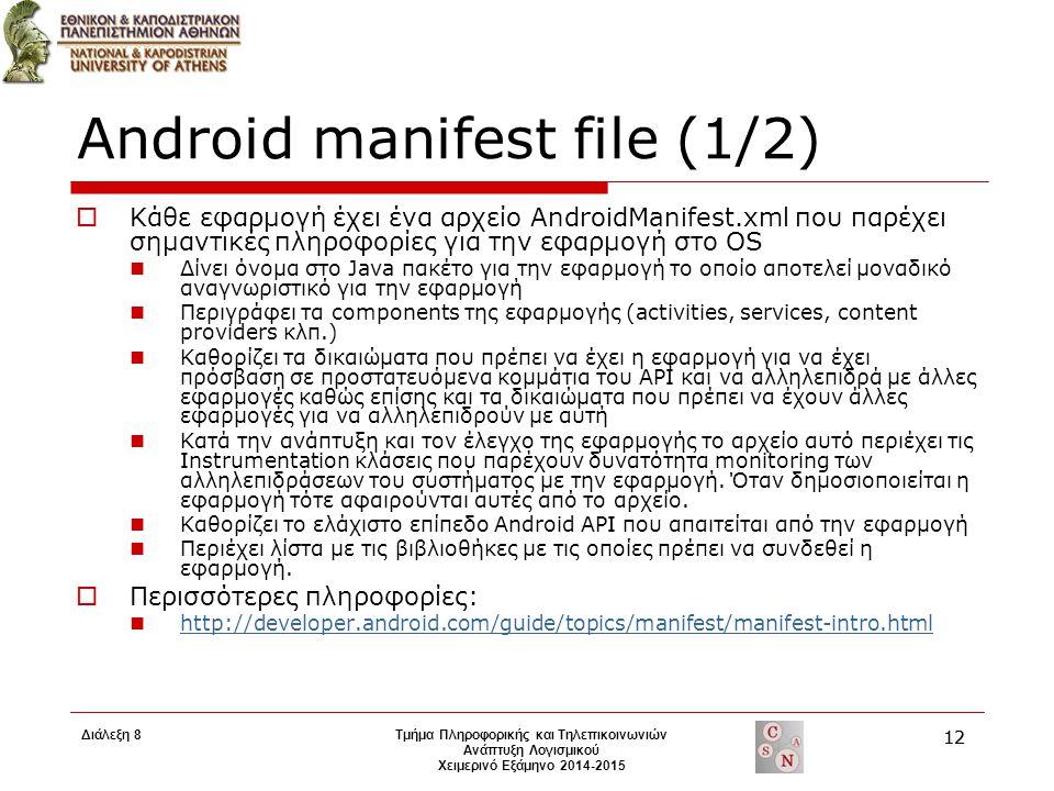 Android manifest file (1/2)  Κάθε εφαρμογή έχει ένα αρχείο AndroidManifest.xml που παρέχει σημαντικές πληροφορίες για την εφαρμογή στο OS Δίνει όνομα