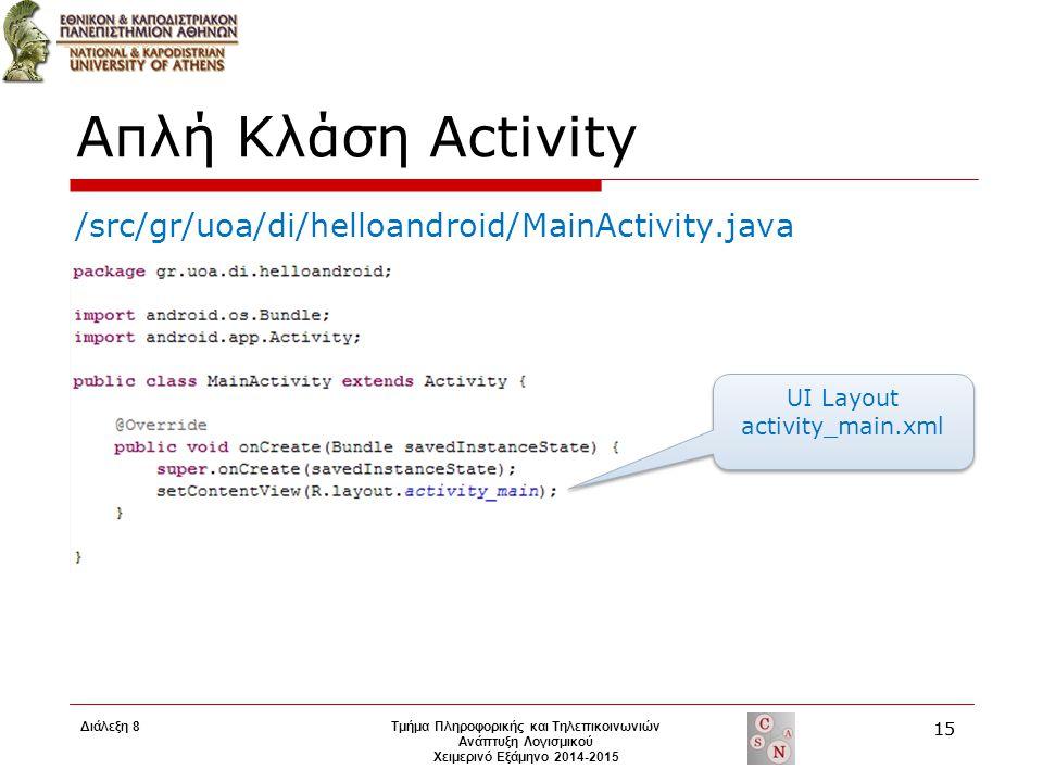 Απλή Κλάση Activity UI Layout activity_main.xml /src/gr/uoa/di/helloandroid/MainActivity.java Τμήμα Πληροφορικής και Τηλεπικοινωνιών Ανάπτυξη Λογισμικ
