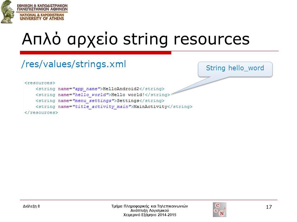 Απλό αρχείο string resources /res/values/strings.xml String hello_word Τμήμα Πληροφορικής και Τηλεπικοινωνιών Ανάπτυξη Λογισμικού Χειμερινό Εξάμηνο 20