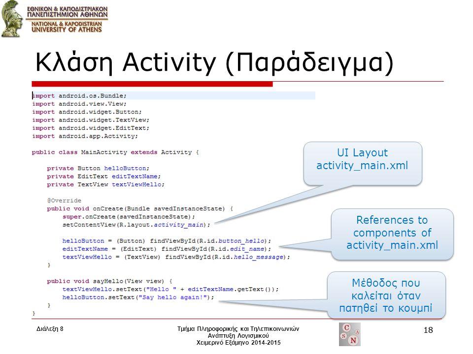 Κλάση Activity (Παράδειγμα) UI Layout activity_main.xml References to components of activity_main.xml Μέθοδος που καλείται όταν πατηθεί το κουμπί Τμήμ