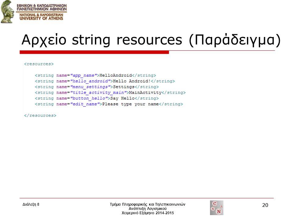 Αρχείο string resources (Παράδειγμα) Τμήμα Πληροφορικής και Τηλεπικοινωνιών Ανάπτυξη Λογισμικού Χειμερινό Εξάμηνο 2014-2015 20 Διάλεξη 8 20