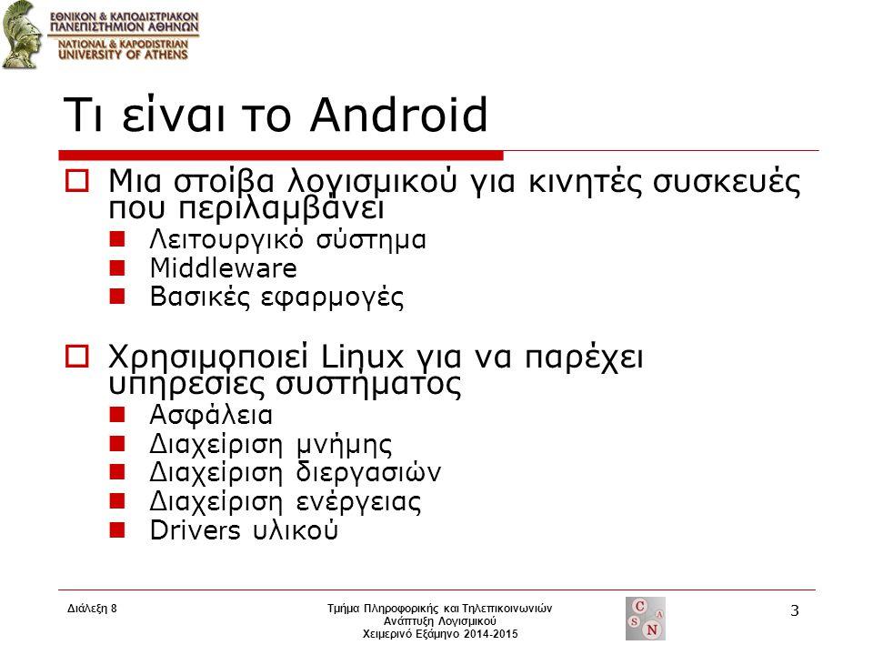 Τι είναι το Android  Μια στοίβα λογισμικού για κινητές συσκευές που περιλαμβάνει Λειτουργικό σύστημα Middleware Βασικές εφαρμογές  Χρησιμοποιεί Linu