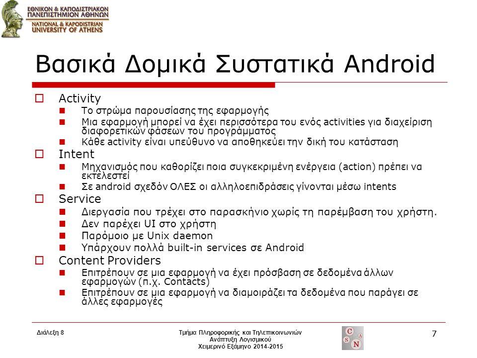 Βασικά Δομικά Συστατικά Android  Activity Το στρώμα παρουσίασης της εφαρμογής Μια εφαρμογή μπορεί να έχει περισσότερα του ενός activities για διαχείρ