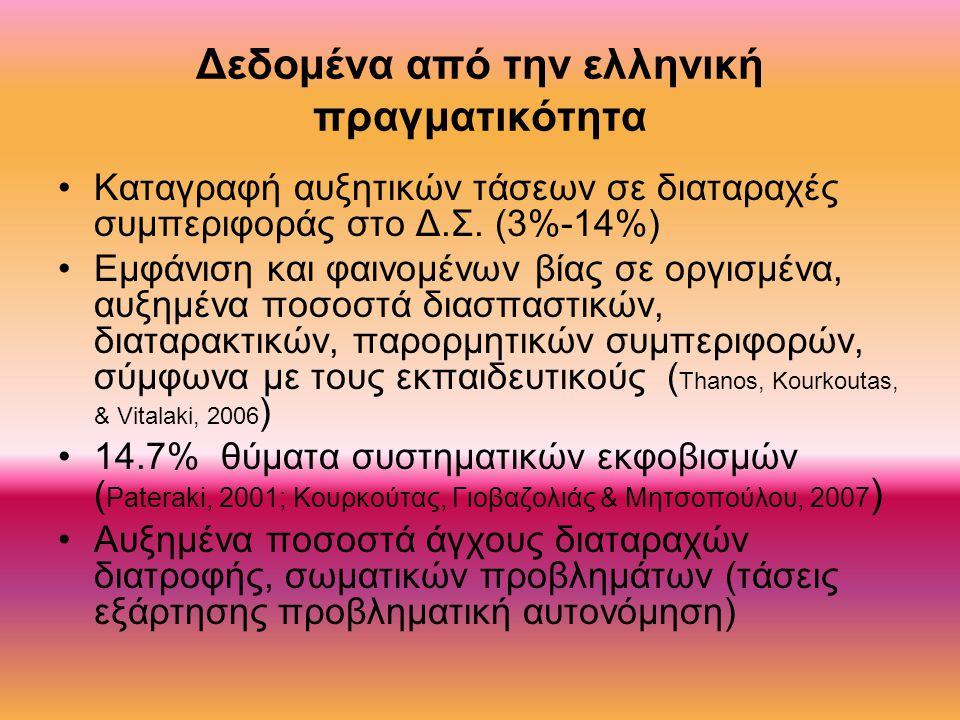 Δεδομένα από την ελληνική πραγματικότητα Καταγραφή αυξητικών τάσεων σε διαταραχές συμπεριφοράς στο Δ.Σ.