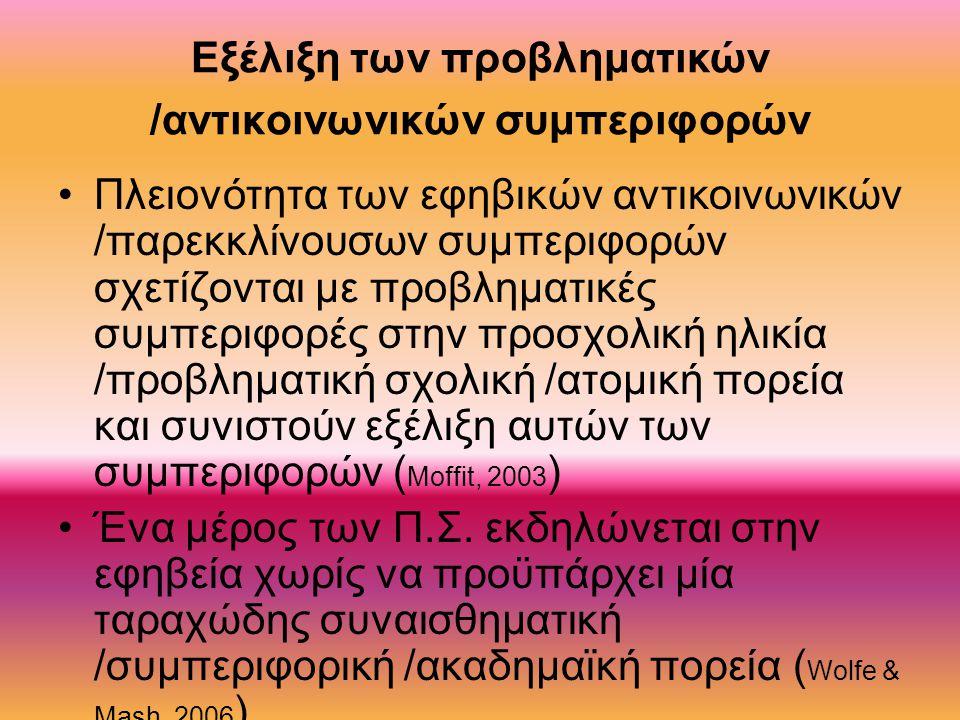 Εξέλιξη των προβληματικών /αντικοινωνικών συμπεριφορών Πλειονότητα των εφηβικών αντικοινωνικών /παρεκκλίνουσων συμπεριφορών σχετίζονται με προβληματικές συμπεριφορές στην προσχολική ηλικία /προβληματική σχολική /ατομική πορεία και συνιστούν εξέλιξη αυτών των συμπεριφορών ( Moffit, 2003 ) Ένα μέρος των Π.Σ.