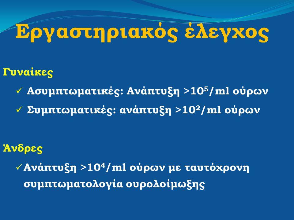 Εργαστηριακός έλεγχος Γυναίκες Ασυμπτωματικές: Ανάπτυξη >10 5 /ml ούρων Συμπτωματικές: ανάπτυξη >10 2 /ml ούρων Άνδρες  Ανάπτυξη >10 4 /ml ούρων με τ
