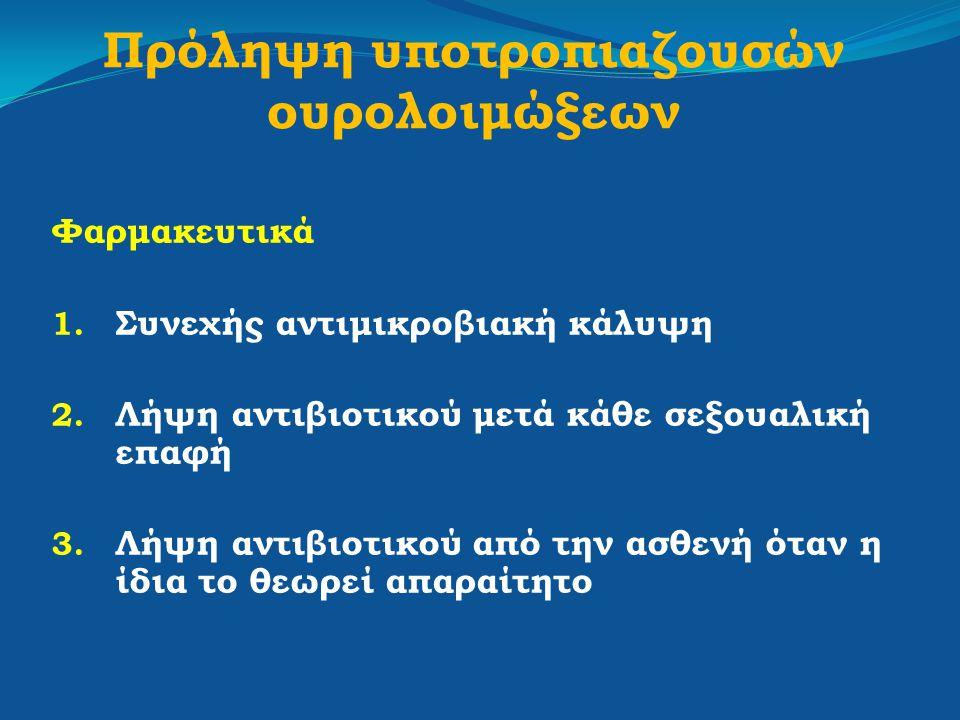 Πρόληψη υποτροπιαζουσών ουρολοιμώξεων Φαρμακευτικά 1. Συνεχής αντιμικροβιακή κάλυψη 2. Λήψη αντιβιοτικού μετά κάθε σεξουαλική επαφή 3. Λήψη αντιβιοτικ