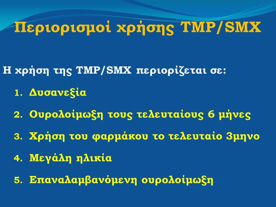 Περιορισμοί χρήσης TMP/SMX Η χρήση της TMP/SMX περιορίζεται σε: 1. Δυσανεξία 2. Ουρολοίμωξη τους τελευταίους 6 μήνες 3. Χρήση του φαρμάκου το τελευταί