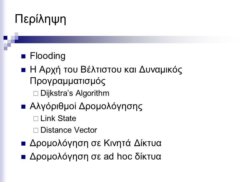 Περίληψη Flooding Η Αρχή του Βέλτιστου και Δυναμικός Προγραμματισμός  Dijkstra's Algorithm Αλγόριθμοi Δρομολόγησης  Link State  Distance Vector Δρομολόγηση σε Κινητά Δίκτυα Δρομολόγηση σε ad hoc δίκτυα