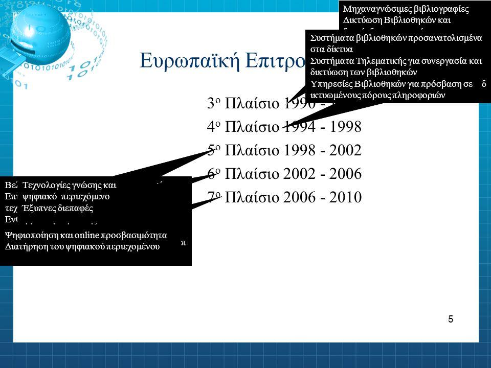 6 i2010 Online προσβασιμότητα Ψηφιοποίηση αναλογικών συλλογών Διατήρηση και αποθήκευση συλλογών