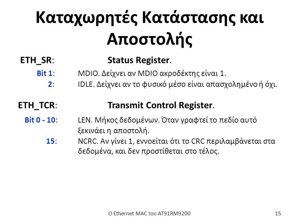 Καταχωρητές Κατάστασης και Αποστολής ETH_SR:Status Register.