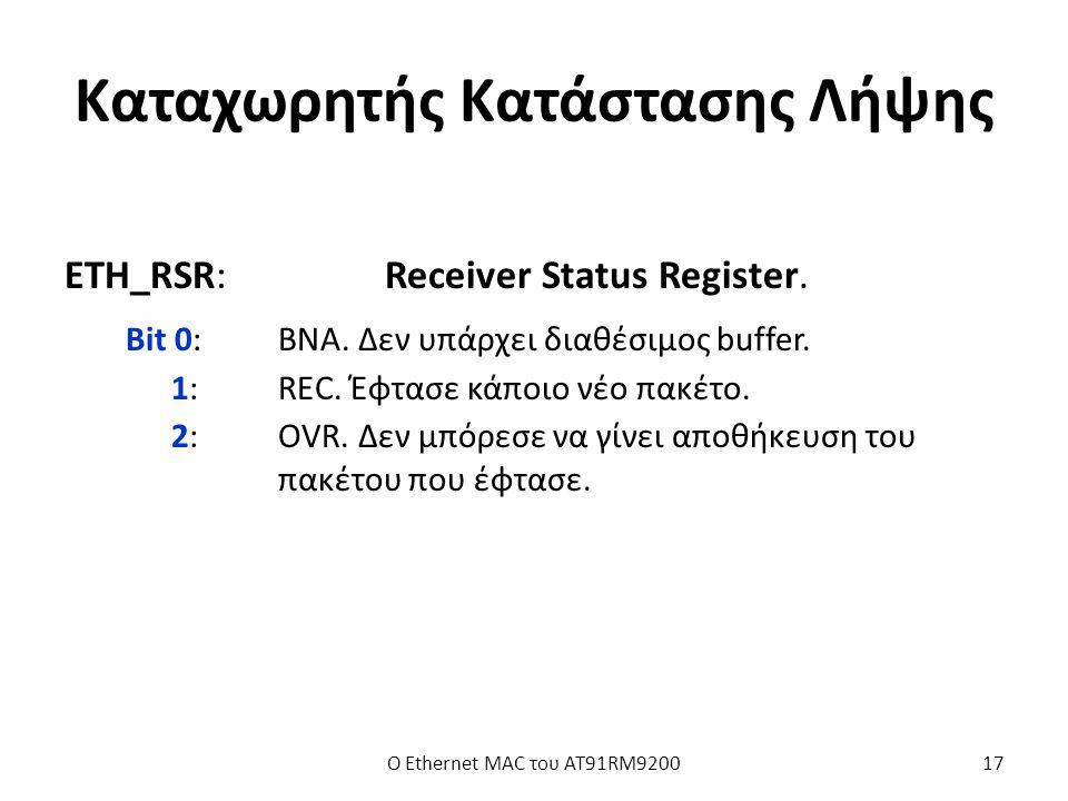 Καταχωρητής Κατάστασης Λήψης ETH_RSR:Receiver Status Register.