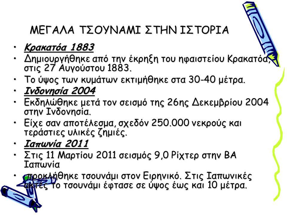ΜΕΓΑΛΑ ΤΣΟΥΝΑΜΙ ΣΤΗΝ ΙΣΤΟΡΙΑ Κρακατόα 1883Κρακατόα 1883 Δημιουργήθηκε από την έκρηξη του ηφαιστείου Κρακατόα, στις 27 Αυγούστου 1883.Δημιουργήθηκε από