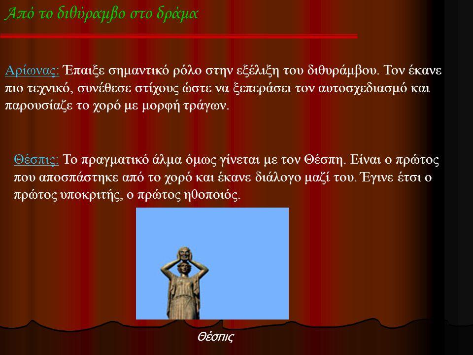 Από το διθύραμβο στο δράμα Αρίωνας: Έπαιξε σημαντικό ρόλο στην εξέλιξη του διθυράμβου.