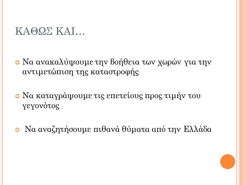 ΚΑΘΩΣ ΚΑΙ… Να ανακαλύψουμε την βοήθεια των χωρών για την αντιμετώπιση της καταστροφής Να καταγράψουμε τις επετείους προς τιμήν του γεγονότος Να αναζητήσουμε πιθανά θύματα από την Ελλάδα