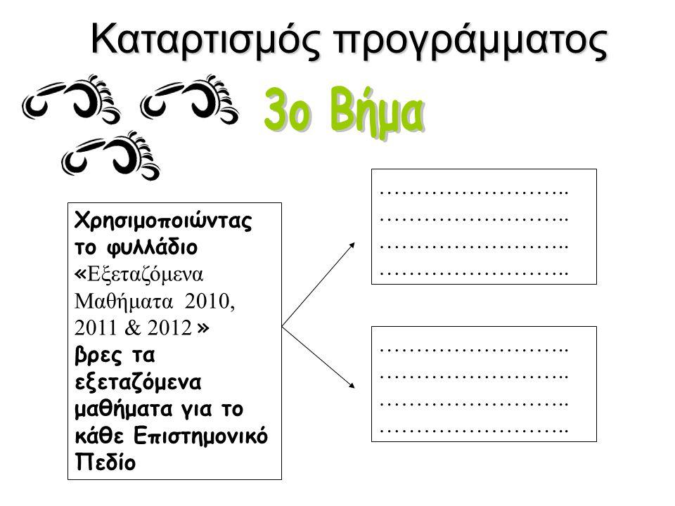 Καταρτισμός προγράμματος Χρησιμοποιώντας το φυλλάδιο « Εξεταζόμενα Μαθήματα 2010, 2011 & 2012 » βρες τα εξεταζόμενα μαθήματα για το κάθε Επιστημονικό Πεδίο ……………………..
