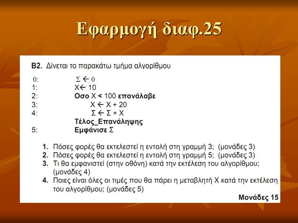 Εφαρμογή διαφ.25 0: Σ  0