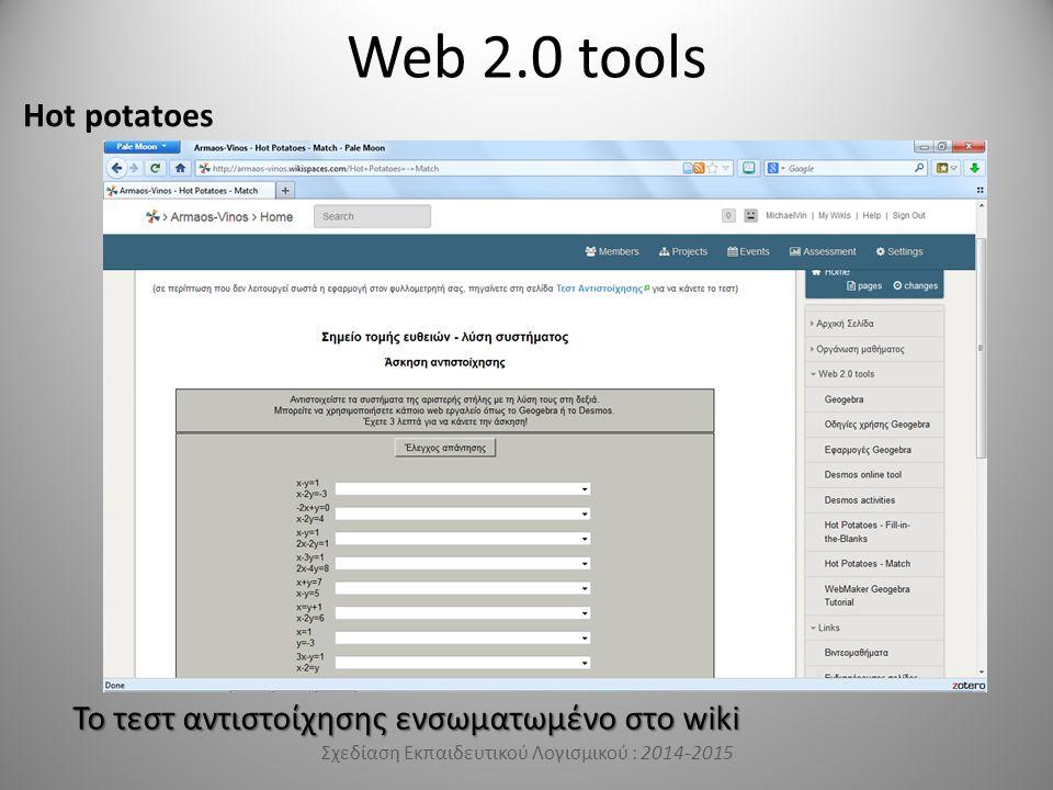Web 2.0 tools Hot potatoes Σχεδίαση Εκπαιδευτικού Λογισμικού : 2014-2015 Το τεστ αντιστοίχησης ενσωματωμένο στο wiki