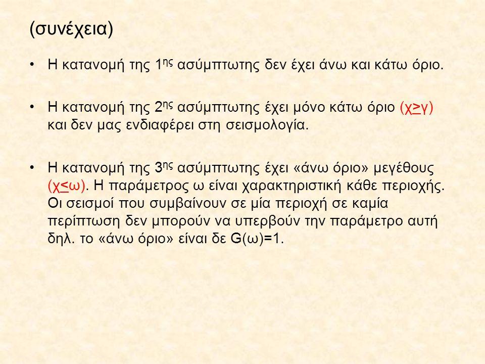 (συνέχεια) Η κατανομή της 1 ης ασύμπτωτης δεν έχει άνω και κάτω όριο. Η κατανομή της 2 ης ασύμπτωτης έχει μόνο κάτω όριο (χ>γ) και δεν μας ενδιαφέρει