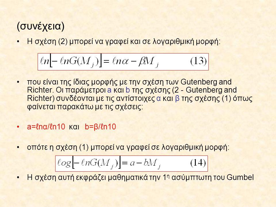 (συνέχεια) Η σχέση (2) μπορεί να γραφεί και σε λογαριθμική μορφή: που είναι της ίδιας μορφής με την σχέση των Gutenberg and Richter. Οι παράμετροι a κ