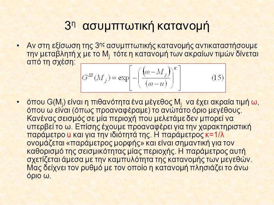 3 η ασυμπτωτική κατανομή Αν στη εξίσωση της 3 ης ασυμπτωτικής κατανομής αντικαταστήσουμε την μεταβλητή χ με το Μ j τότε η κατανομή των ακραίων τιμών δ