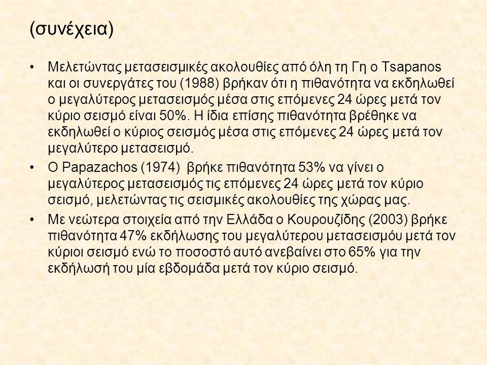 (συνέχεια) Μελετώντας μετασεισμικές ακολουθίες από όλη τη Γη ο Tsapanos και οι συνεργάτες του (1988) βρήκαν ότι η πιθανότητα να εκδηλωθεί ο μεγαλύτερο